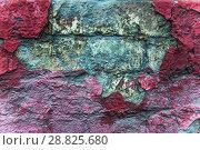 Купить «Старая кирпичная стена и облупившаяся старая краска.Текстура. Фон», фото № 28825680, снято 24 июля 2018 г. (c) Алёшина Оксана / Фотобанк Лори