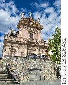 Купить «BRUNATE, ITALY - July 6, 2018: Church Sant'Andrea Apostolo in Brunate, Como, Italy», фото № 28826432, снято 6 июля 2018 г. (c) Григорий Стоякин / Фотобанк Лори