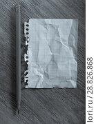 Купить «Crumpled torn page», фото № 28826868, снято 21 сентября 2018 г. (c) Яков Филимонов / Фотобанк Лори