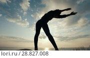 Купить «Female silhouette doing slopes on the cliff at sunrise», видеоролик № 28827008, снято 17 октября 2018 г. (c) Константин Шишкин / Фотобанк Лори