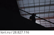 Купить «A silhouette of a man moving down on an escalator», видеоролик № 28827116, снято 19 ноября 2018 г. (c) Данил Руденко / Фотобанк Лори