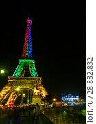 Купить «Tour Eiffel at night», фото № 28832832, снято 19 июля 2013 г. (c) Сурикова Ирина / Фотобанк Лори
