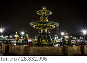 Купить «Place Concorde at night with fountains rivers and seas», фото № 28832996, снято 5 сентября 2014 г. (c) Сурикова Ирина / Фотобанк Лори