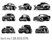 Купить «Vector Cartoon retro cars collection», иллюстрация № 28833076 (c) Александр Володин / Фотобанк Лори