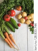 Купить «freshly grown raw vegetables», фото № 28833744, снято 17 июля 2016 г. (c) Jan Jack Russo Media / Фотобанк Лори