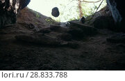 Купить «White helmets flying down into the dark cave», видеоролик № 28833788, снято 18 июня 2019 г. (c) Константин Шишкин / Фотобанк Лори