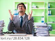 Купить «Employee chained to his desk due to workload», фото № 28834128, снято 11 мая 2018 г. (c) Elnur / Фотобанк Лори
