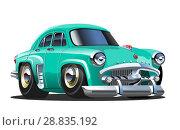 Купить «Vector Cartoon retro car», иллюстрация № 28835192 (c) Александр Володин / Фотобанк Лори