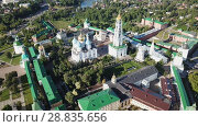 Купить «Aerial view of unique monastic complex of Trinity Lavra of St. Sergius, Sergiev Posad, Russia», видеоролик № 28835656, снято 28 июня 2018 г. (c) Яков Филимонов / Фотобанк Лори