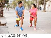 Купить «Couple training outdoors», фото № 28841468, снято 26 июня 2018 г. (c) Яков Филимонов / Фотобанк Лори