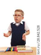 Купить «Stylish little school boy in white shirt and glasses», фото № 28842528, снято 21 октября 2017 г. (c) Pavel Biryukov / Фотобанк Лори