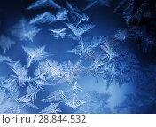 Купить «Frosty pattern on winter window», фото № 28844532, снято 18 августа 2018 г. (c) ElenArt / Фотобанк Лори