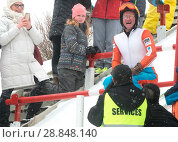 Купить «Eddie the Eagle, real name Michael Edwards, took to the slopes at the Canada Olympic Park in Calgary, Alberta in support of local jumpers. Around 1000...», фото № 28848140, снято 5 марта 2017 г. (c) age Fotostock / Фотобанк Лори