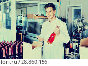 Купить «Winery worker packing wine bottles», фото № 28860156, снято 21 сентября 2016 г. (c) Яков Филимонов / Фотобанк Лори