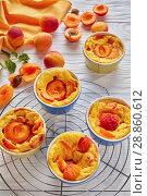 Купить «french summer dessert - Baked apricot clafoutis», фото № 28860612, снято 22 июля 2018 г. (c) Oksana Zh / Фотобанк Лори