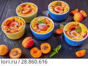 Купить «french summer dessert - Baked apricot clafoutis», фото № 28860616, снято 22 июля 2018 г. (c) Oksana Zh / Фотобанк Лори