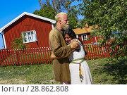 Купить «Björkö, Sweden. Staff dressed as Vikings at the Viking settlement of Birka (9th-10th c. ) in Lake Mälaren, a World Heritage site.», фото № 28862808, снято 15 июля 2018 г. (c) age Fotostock / Фотобанк Лори