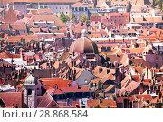 Купить «Red tile roofs of Besancon from above at sunny day», фото № 28868584, снято 25 мая 2017 г. (c) Сергей Новиков / Фотобанк Лори