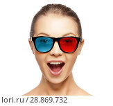 Купить «excited young woman in red blue 3d glasses», фото № 28869732, снято 21 сентября 2011 г. (c) Syda Productions / Фотобанк Лори