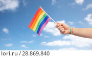 Купить «hand with gay pride rainbow flag and wristband», фото № 28869840, снято 2 ноября 2017 г. (c) Syda Productions / Фотобанк Лори