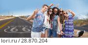 Купить «hippie friends taking selfie over us route 66», фото № 28870204, снято 27 августа 2015 г. (c) Syda Productions / Фотобанк Лори