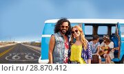 Купить «hippie couple over minivan on us route 66», фото № 28870412, снято 27 августа 2015 г. (c) Syda Productions / Фотобанк Лори