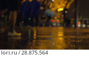 Купить «Rain pouring in night city», видеоролик № 28875564, снято 17 января 2018 г. (c) Данил Руденко / Фотобанк Лори