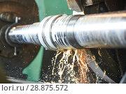 Купить «metal industry. finishing shaft surface on grinder machine», фото № 28875572, снято 4 июля 2018 г. (c) Дмитрий Калиновский / Фотобанк Лори