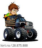 Купить «Cartoon Monster Truck with driver», иллюстрация № 28875888 (c) Александр Володин / Фотобанк Лори