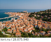 Купить «Aerial view of old town Piran, Slovenia, Europe. Summer vacations tourism concept background.», фото № 28875940, снято 19 сентября 2019 г. (c) Matej Kastelic / Фотобанк Лори