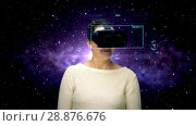 Купить «woman with vr headset and coding over space», видеоролик № 28876676, снято 5 апреля 2020 г. (c) Syda Productions / Фотобанк Лори