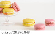 Купить «yellow and pink macarons on glass stand and table», видеоролик № 28876848, снято 13 июля 2018 г. (c) Syda Productions / Фотобанк Лори
