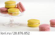 Купить «yellow and pink macarons on glass stand and table», видеоролик № 28876852, снято 13 июля 2018 г. (c) Syda Productions / Фотобанк Лори