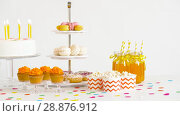 Купить «food and drinks on table at birthday party», видеоролик № 28876912, снято 13 июля 2018 г. (c) Syda Productions / Фотобанк Лори