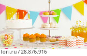 Купить «food and drinks on table at birthday party», видеоролик № 28876916, снято 13 июля 2018 г. (c) Syda Productions / Фотобанк Лори