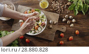 Купить «A woman's hand sprinkles with spices salad from natural ingredients. Top view of background with quail eggs, chicken fillet, greens, tomatoes, walnuts for cooking salad. Slow motion video in 4K», видеоролик № 28880828, снято 29 июня 2018 г. (c) Ярослав Данильченко / Фотобанк Лори