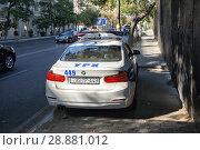Купить «Автомобиль азербайджанской полиции на улице Баку. Азербайджан», фото № 28881012, снято 24 сентября 2017 г. (c) Евгений Ткачёв / Фотобанк Лори