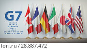 G7 summit or meeting concept. Row from flags of members of G7 group of seven and list of countries, Стоковое фото, фотограф Maksym Yemelyanov / Фотобанк Лори