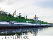Купить «Tura River Embankment in Tyumen, Russia. Holy Trinity Monastery.», фото № 28887632, снято 2 августа 2018 г. (c) Землянникова Вероника / Фотобанк Лори