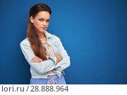 Купить «pretty smiling woman with long brown hair», фото № 28888964, снято 26 июля 2018 г. (c) Александр Лычагин / Фотобанк Лори
