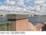 Купить «Мемориальная доска на Литейном мосту. Санкт-Петербург», эксклюзивное фото № 28889668, снято 4 августа 2018 г. (c) Румянцева Наталия / Фотобанк Лори