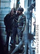 Купить «Film crew and stuntmen prepare for the filming of the upcoming movie 'Avengers: Infinity War' on the Royal Mile in Edinburgh Featuring: Stuntman Where...», фото № 28897016, снято 31 марта 2017 г. (c) age Fotostock / Фотобанк Лори