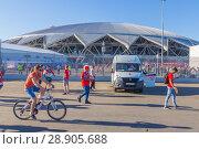 Купить «Russia, Samara, June 2018: an ambulance car is on duty during the soccer match of Serbia Costa Rica at the World Championship near the Samara Arena stadium.», фото № 28905688, снято 17 июня 2018 г. (c) Акиньшин Владимир / Фотобанк Лори
