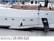 Купить «Multi-million pound super-yacht Lady M has arrived in Greenock. The stunning 65-metre vessel has berthed at James Watt Dock Marina. Lady M is understood...», фото № 28909620, снято 7 апреля 2017 г. (c) age Fotostock / Фотобанк Лори