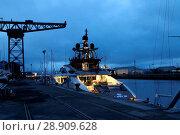 Купить «Multi-million pound super-yacht Lady M has arrived in Greenock. The stunning 65-metre vessel has berthed at James Watt Dock Marina. Lady M is understood...», фото № 28909628, снято 7 апреля 2017 г. (c) age Fotostock / Фотобанк Лори