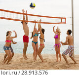 Купить «adults throwing ball over net and laughing», фото № 28913576, снято 18 августа 2018 г. (c) Яков Филимонов / Фотобанк Лори