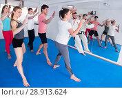Купить «Young adult trainees practicing in karate class», фото № 28913624, снято 8 апреля 2017 г. (c) Яков Филимонов / Фотобанк Лори