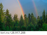 Купить «a beautiful natural phenomenon, two rainbows against the backdrop of mountains covered with forest after rain», фото № 28917288, снято 17 августа 2017 г. (c) Константин Лабунский / Фотобанк Лори
