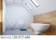 Купить «Modern attic Bathroom interior», фото № 28917440, снято 15 сентября 2019 г. (c) Виктор Застольский / Фотобанк Лори