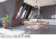 Купить «modern loft kitchen interior», фото № 28917448, снято 15 августа 2018 г. (c) Виктор Застольский / Фотобанк Лори